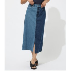【AZUL by moussy:スカート】BICOLOR DENIM LONG SKIRT