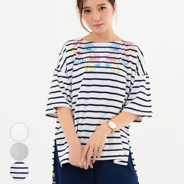 Tシャツ - relaclo レディース ファッション 20代 30代 体形カバー ゆったり 春 夏 トップス Tシャツ 半袖 ビッグシルエット 花柄 ボーダー ナチュラル