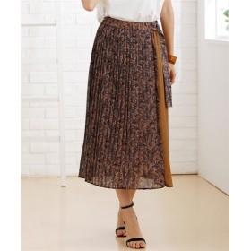 ペイズリー柄ラップ風プリーツスカート (ひざ丈スカート)Skirts, 裙子