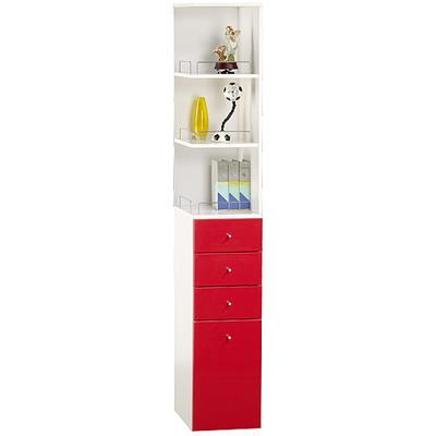 米妮Mini 大細縫角落/抽屜收納櫃組-紅色