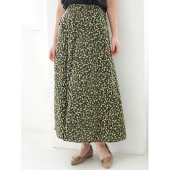 グリーンパークス Green Parks ・LHELBIE フロントボタンフラワースカート (Black)