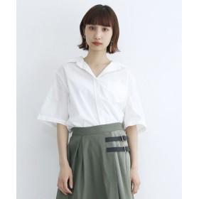 (merlot/メルロー)襟ワイヤー入りオープンカラーシャツ/レディース オフホワイト
