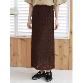 グリーンパークス Green Parks ・SUGAR SPOON レースナロースカート (Brown)