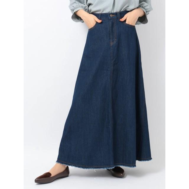 【6,000円(税込)以上のお買物で全国送料無料。】・・デニムフレアロングスカート