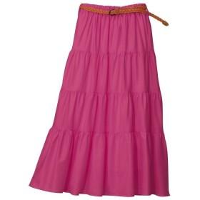 GeeRA ベルト付ティアードマキシスカート ピンク M レディース 5,000円(税抜)以上購入で送料無料 ロングスカート 夏 レディースファッション アパレル 通販 大きいサイズ コーデ 安い おしゃれ お洒落 20代 30代 40代 50代 女性 スカート