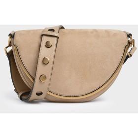 クロックエフェクト サドルクロスボディバッグ / Croc-Effect Saddle Crossbody Bag (Beige)