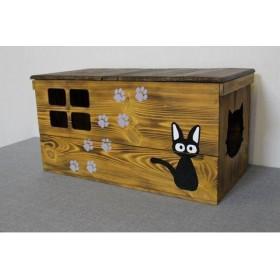 【受注生産 C03】キャットハウス 猫ハウス 猫の遊び場 猫の隠れ家 ペットグッズ オシャレDIY ハンドメイド りんご箱 蓋付き