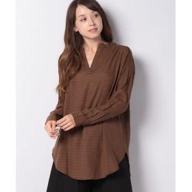 コエ バンドカラーオーバーサイズシャツ レディース チェックブラウン F 【koe】