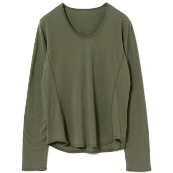 ビームス ウィメン RBS / 配色 ステッチ Uネック Tシャツ レディース OLIVE - 【BEAMS WOMEN】