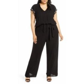 シーシー CECE レディース オールインワン ワンピース・ドレス Flutter Sleeve Embroidered Jumpsuit Rich Black