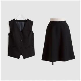 【事務服。ベストスーツ】2点セット(ベスト+フレアスカート)(丈56cm) (大きいサイズレディース)事務服,women's suits ,plus size