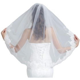 ウェディングベール マリアベール ミドル丈100cm 櫛つき 刺繍エッジ 1層 上品の花嫁用品 白 ホワイト