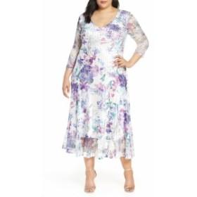 コマロフ KOMAROV レディース ワンピース ワンピース・ドレス Floral Print V-Neck Charmeuse Tea Length Dress Orchid Arrangement