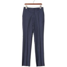 【75%OFF】フロントタブ センタープレス パンツ ネイビー 75