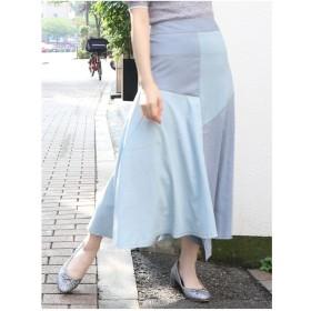dazzlin カラーブロッキングマーメイドスカート(ブルー)