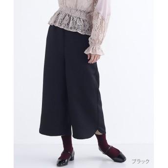 メルロー フラワータイル柄クロップドパンツ レディース ブラック FREE 【merlot】