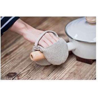 Nelipo 綿麻 鍋つかみ・ミトン 無印 和風 耐熱手袋 オーブン/電子レンジ (1個)