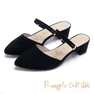 Pineapple Outfitter 知性優雅 尖頭兩穿式跟鞋-黑色