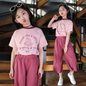 子供服 セットアップ キッズ 女の子 韓國子供服 上下セット 2點セット トップス 半袖 Tシャツ ショートパンツ 短パン 可愛