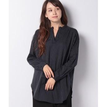 【33%OFF】 コエ バンドカラーオーバーサイズシャツ レディース ストライプ F 【koe】 【セール開催中】
