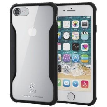 ELECOM PM-A17MHVCG2BK ブラック [iPhone 8/ハイブリッドケース/ガラス/耐衝撃設計] ケース・カバー