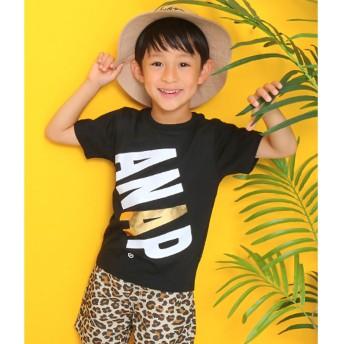 アナップキッズ ANAP KIDS 斜めロゴプリントTシャツ (ブラック)