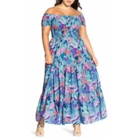 シティーシック CITY CHIC レディース ワンピース ワンピース・ドレス Chic City Mystery Floral Off-the Shoulder Maxi Dress Mystery F