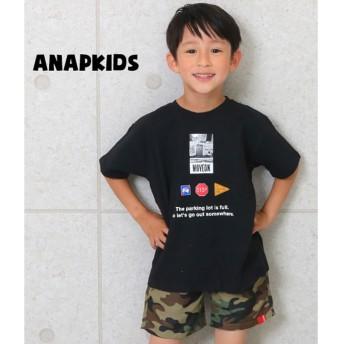 アナップキッズ ANAP KIDS フォトプリントビッグTシャツ (ブラック)
