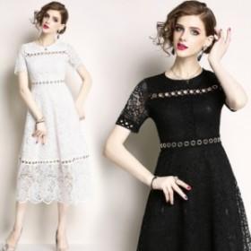 【送料無料】 繊細な透け感レースが女性らしいワンピースドレス パーティードレス 結婚式 ドレス 披露宴 二次会 卒業式 ワンピース