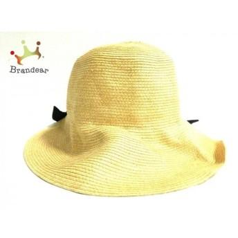 アナトリエ anatelier 帽子 ナチュラル×黒 リボン 指定外繊維(紙)×ポリエステル 新着 20190807
