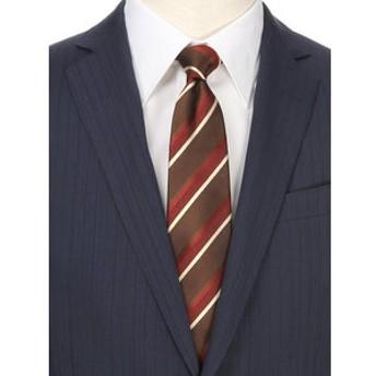 【UNIVERSAL LANGUAGE:スーツ・ネクタイ】ストライプ×ヘリンボーン柄ネクタイ