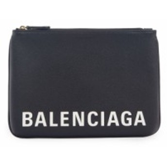 バレンシアガ BALENCIAGA レディース ポーチ Ville Logo Calfskin Leather Pouch Black/White