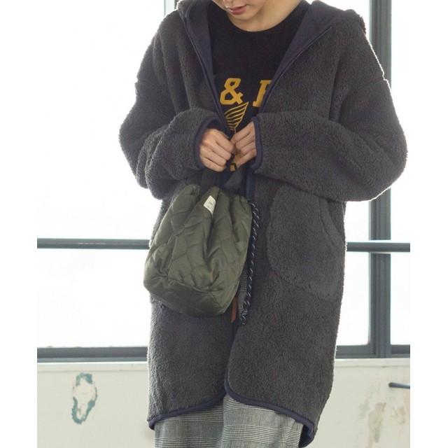 コーエン キルト×ボア巾着トートバッグ(リバーシブル/トートバッグ) レディース OLIVE FREE 【coen】