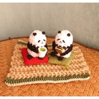【受注制作】お茶飲みパンダさんの置物