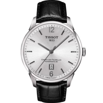 TISSOT 天梭 杜魯爾系列80小時動力機械腕錶 銀 42mm T0994071603700