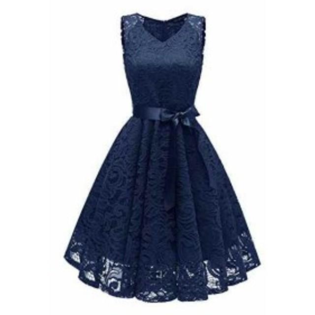[プチハピ] 花柄 レース フレア ワンピース ドレス ふんわり aライン ひざ丈 膝丈 シンプル 袖なし スタイル サテン リボン 付き 大人