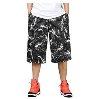 バスケットパンツ 大きめ ワイドパンツ スポーツ ハーフパンツ 短パン メンズ 3XL(ブラック XXX-Large)