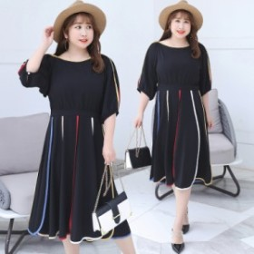 高品質 韓国ファッション 大きいサイズ レディース ワンピース シフォン レジャーマキシ 膝丈 通勤 半袖 着痩せ 体型カバー ブラック