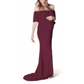 バン BUN MATERNITY レディース ワンピース ワンピース・ドレス Simply Stunning Off the Shoulder Maternity Maxi Dress Wine