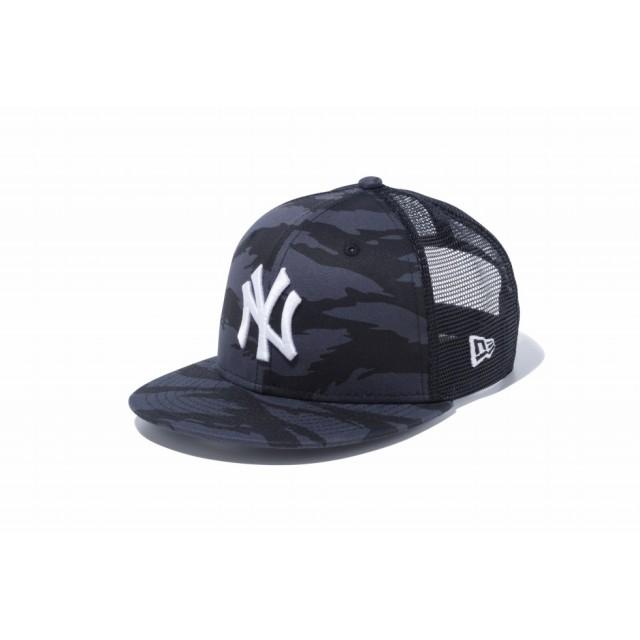 NEW ERA ニューエラ キッズ 9FIFTY トラッカー ニューヨーク・ヤンキース タイガーストライプカモグラファイト × スノーホワイト スナップバックキャップ アジャスタブル サイズ調整可能 ベースボールキャップ キャップ 帽子 男の子 女の子 52 - 55.8cm 12108299 NEWERA メッシュキャップ
