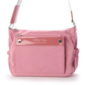 ビバユー VIVAYOU ブランドロゴスタッズ付きシンプルラインショルダー (ピンク)