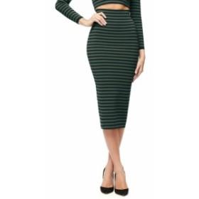 グッドアメリカン GOOD AMERICAN レディース ひざ丈スカート スカート Stripe Pencil Skirt Navy And Hunter Stripe