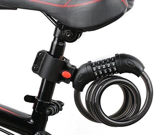 【日本代購】摩托車錶盤鎖鋼絲鎖 自行車鎖長1200 mm 直徑12 mm 5位防盜
