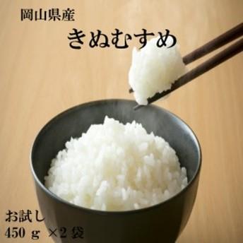 ポイント消化 送料無料 食品 米 お試し お米 岡山県産きぬむすめ450g(3合)×2袋 1kg以下 メール便 代金引換不可