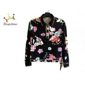 レオナール LEONARD 長袖ポロシャツ サイズ38 M レディース 美品 黒×ピンク×マルチ 新着 20190807