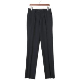 【75%OFF】フロントタブ センタープレス パンツ ブラック 73