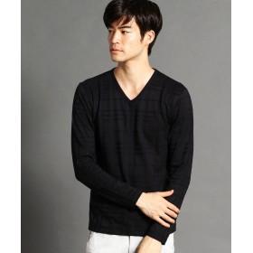 ニコルクラブフォーメン リンクスチェックVネックロングスリーブTシ メンズ 49ブラック 48(L) 【NICOLE CLUB FOR MEN】