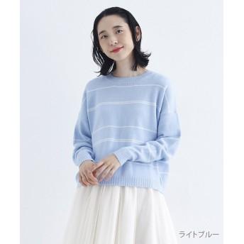 メルロー ランダムボーダークルーネックニット レディース ライトブルー FREE 【merlot】