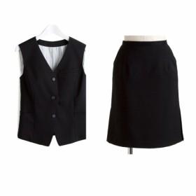 【事務服。ベストスーツ】2点セット(ベスト+タイトスカート)(丈52cm) (大きいサイズレディース)事務服,women's suits ,plus size