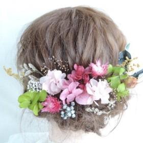 卒業式 成人式 髪飾り 緑とピンク ドライフラワー プリザーブドフラワー